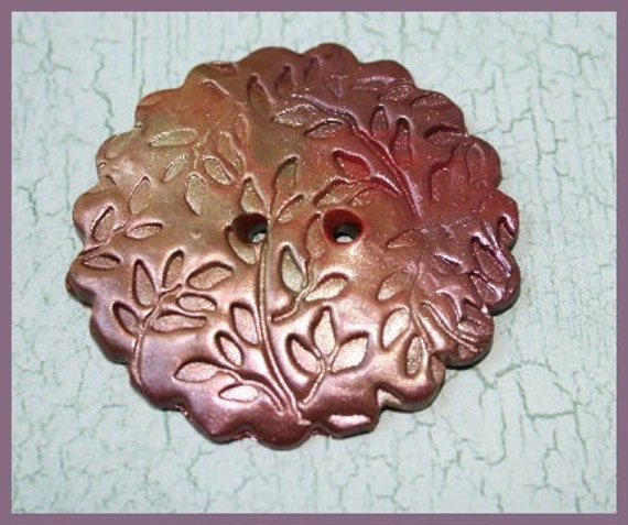 Large embossed polymer clay button