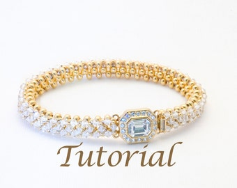 Gold Metal Seed Bead and Crystal Bracelet Pattern Best Friend Digital Download