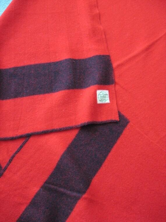 Red Wool Blanket Black Stripe Horn Bros Canada Sale