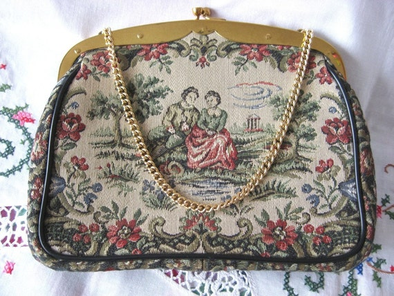 La Marquise Tapestry Purse Handbag Evening Chain Handle