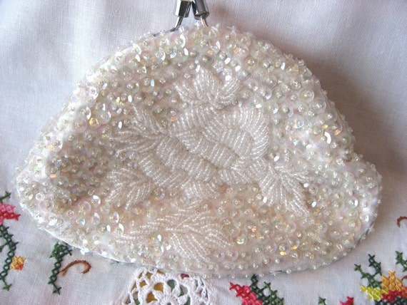 Tiny Beaded Sequined Clutch Purse Wedding, Evening, Prom use coupon code fabulous50 to get 50% off