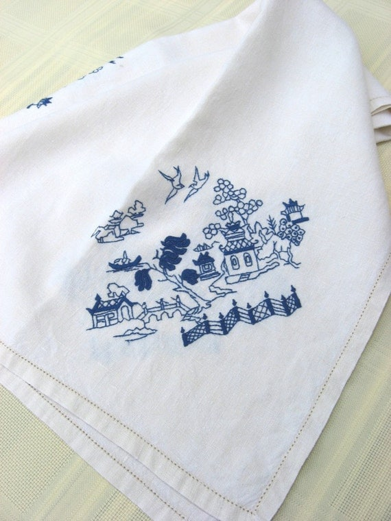 """Ivory Linen Tablecloth Blue Embroidery Pagodas OrientalEnter Coupon Code """"HAPPYHOLIDAYS2011"""" to get a 20% discount"""