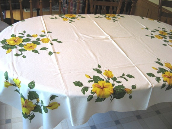 California Hand Prints Yellow Hibiscus Print Tablecloth 70 by 52