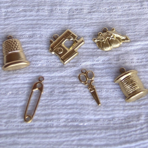 Brass Stamped Sewing Charms
