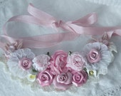 Sweet Pink ROSES Cala Lily Romantic Lacy Elegant Statement Bib Necklace ECS