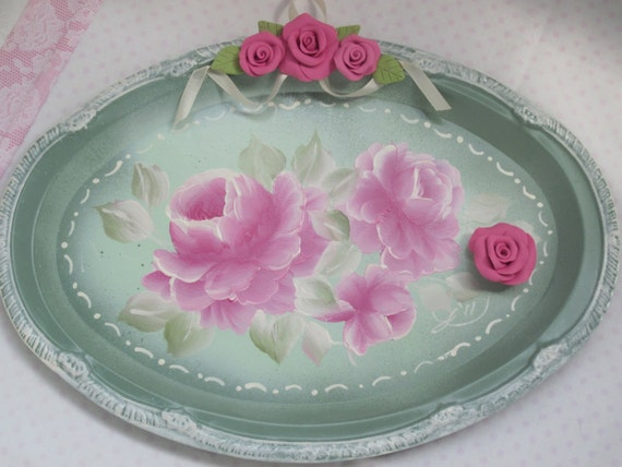 Hand Painted Magnetic Tray Sage Green Pink Roses ECS