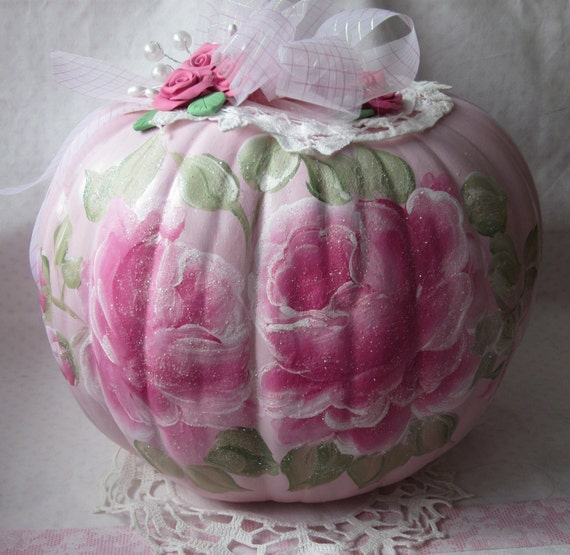 Shabby Chic PINK Pumpkin W/Handpainted Roses Lace Pearls