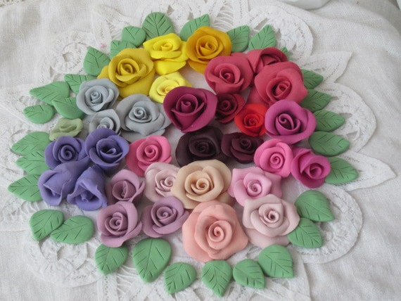 30 Clay ROSES w/leaves Destash Handmade Tiles Creating Mosaics ECS sct schTeam