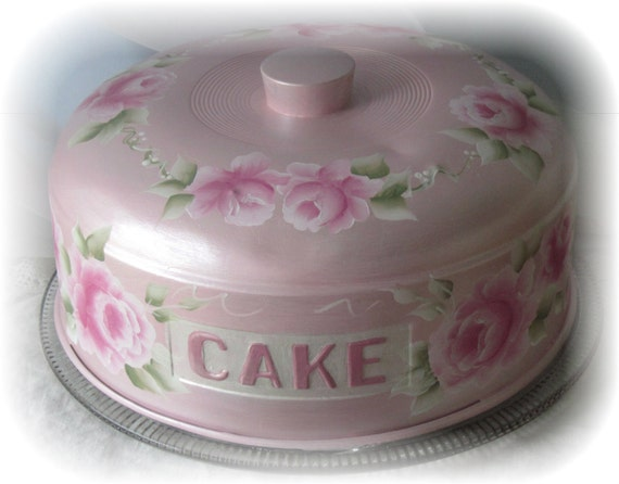 Shabby Cottage Chic Aluminum CAKE COVER Keeper Saver w/Glass Plate  Hand Painted Roses ECS