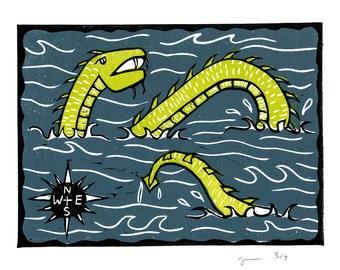 Sea Serpent - Cryptozoology linocut