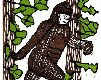 Bigfoot Linocut - 3 plate color