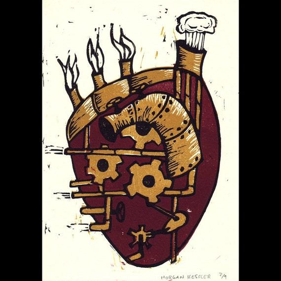 Linocut Steampunk Heart- Color