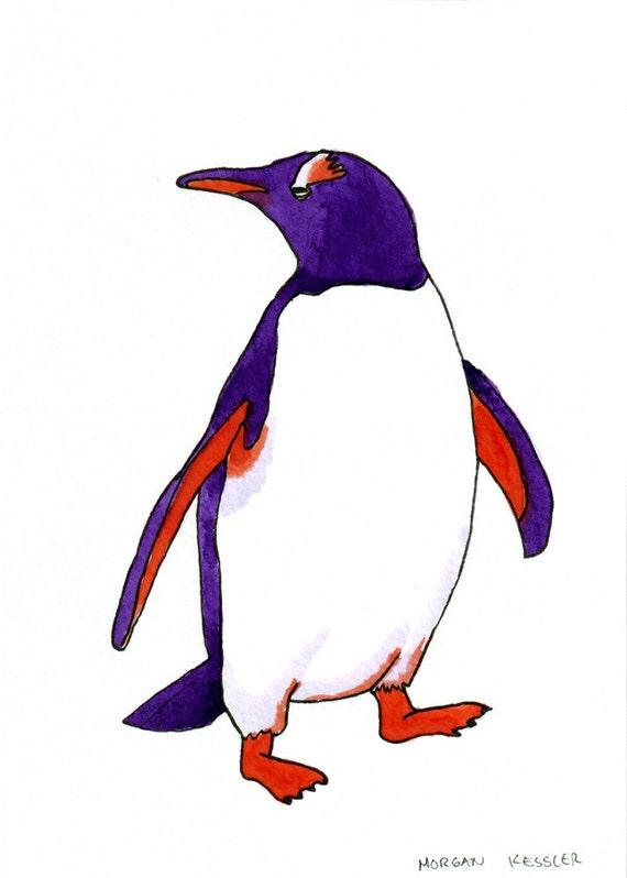 Original- Purple and orange penguin portrait