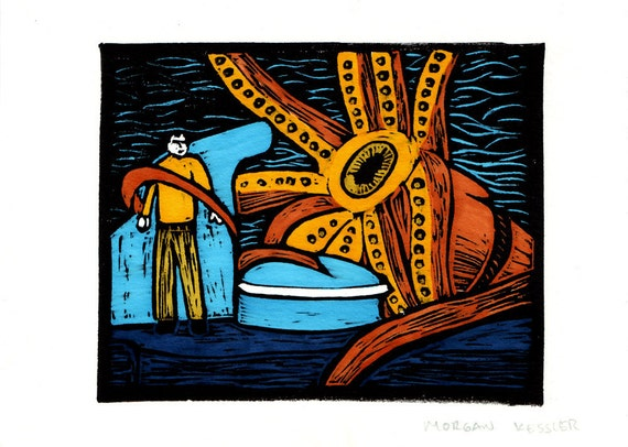 20,000 Leagues Under the Sea LINOCUT- blue and orange