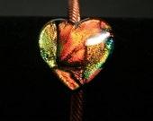 Orange Gold Heart Dichroic Fused Glass Adjustable Copper Cuff Bracelet