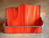 Orange and White, Stained Glass Business Card Holder