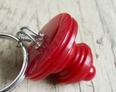 Vintage Stacked Buttons Key Ring - Cherry Red
