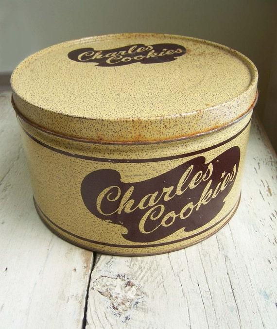 SALE - Vintage Charles Cookies Tin - Orig 10.00