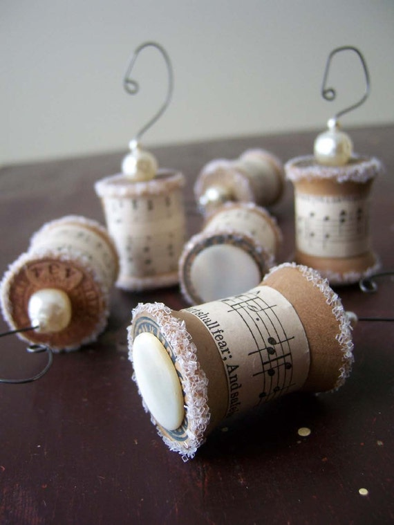 Ornaments Made From Vintage Spools - Set of 6