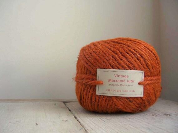 Vintage Rusty Orange Macrame Jute - 77 yds - 3 Ply
