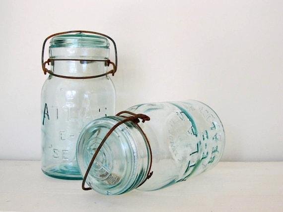 Vintage Atlas EZ Seal Quart Mason Jars - Set of 2