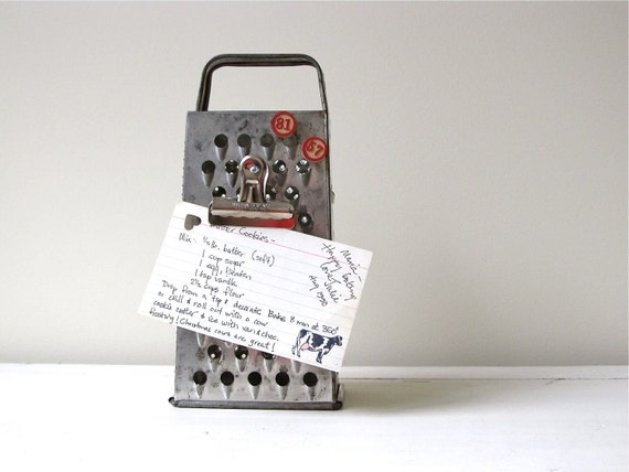 Upcycled Metal Grater Recipe Holder - RESERVED