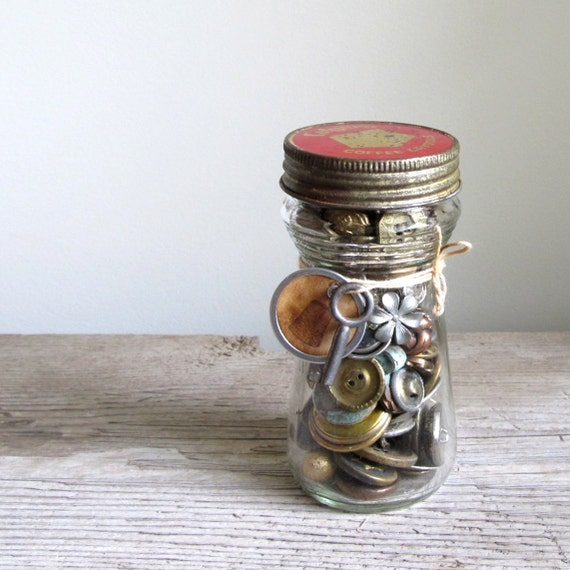 Vintage Gold and Silver Buttons in Folgers Jar