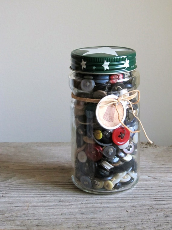 Junque Buttons in Vintage Coffee Jar - RESERVED