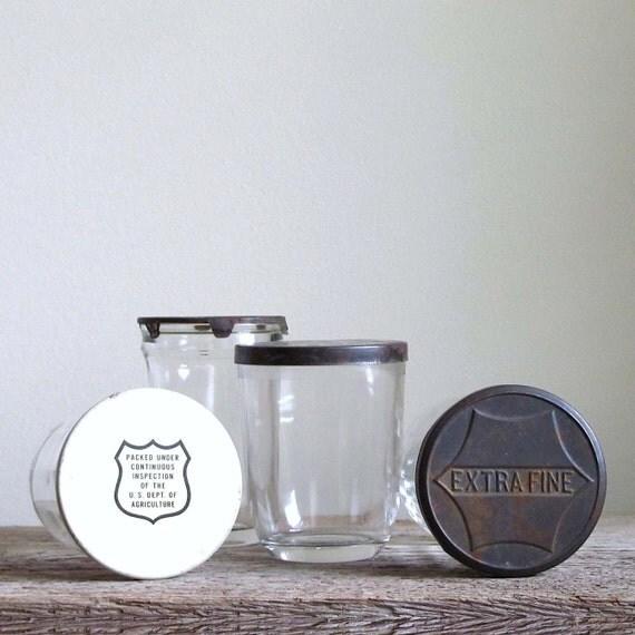 Assortment of Vintage Jelly Glass Jars - Set of 4