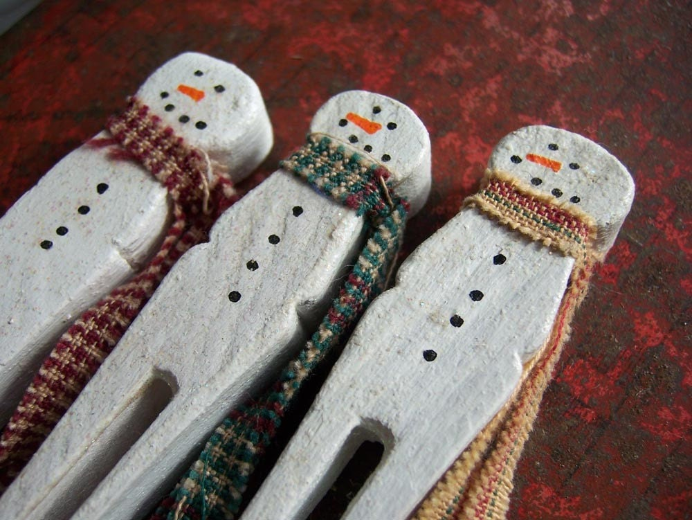 crafts for men snowman clothespins set of 3 1758