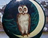 Vintage Owl on the Moon Magnet