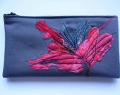 felt flower applique pencil case