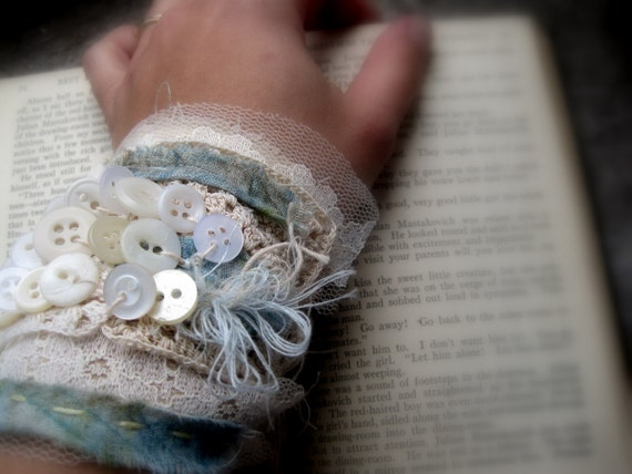 dreamy poetic vintage button vintage lace spring cuff wearable art