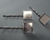 50 Bobby Pins with Blank Square Trays or Pads for Glass, Resin, Glaze, Cabochons