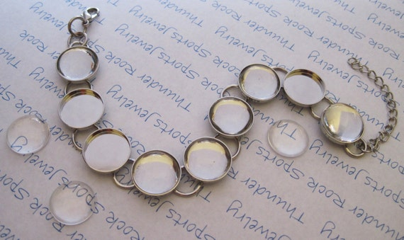 1 Silver Plated Bracelet Blank with 14mm Round Bezels AND 9 Ultra Clear Circle Glass Cabochons Included