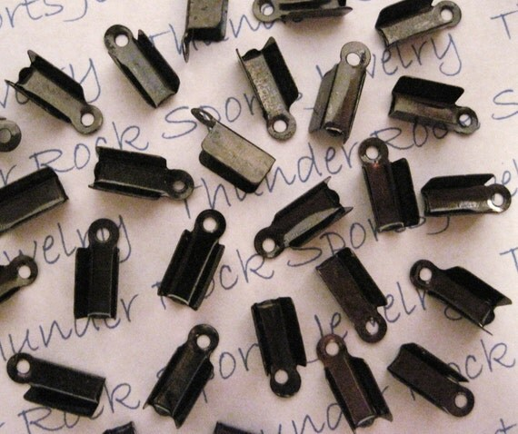 100 Black Gunmetal Foldover Cord Ends, Crimps, Fasteners, Clasps