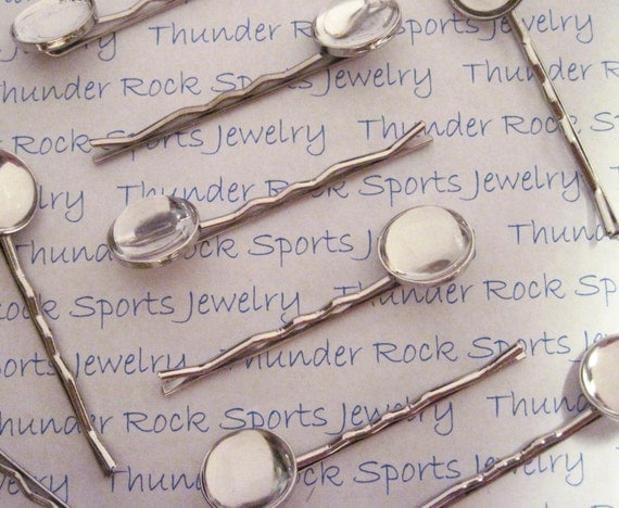 50 Bobby Pins with Round Bezels with 50 Ultra Clear Glass Cabochons