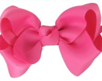 Hair Bows for Girls EVERYDAY HAIR BOW - Hot Pink  (perfect for newborn, infant, toddler, big girl) - Medium hairbow