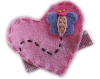 Cute Hair Clip - Pink Butterfly Buzz HEART with No Slip Velcro alligator clippie hair bow for girls