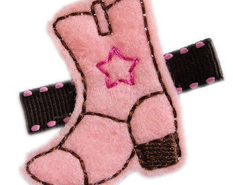 COWGIRL Boot Hair Clip - Pink Brown - Western Hair Bow for Girls baby toddler velcro No Slip
