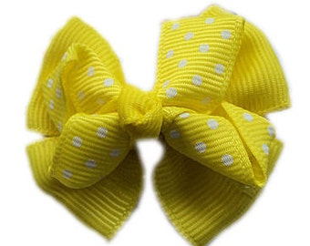 Emma Hair Bow - Bright Yellow - Perfect for Pigtails and ANY Age small