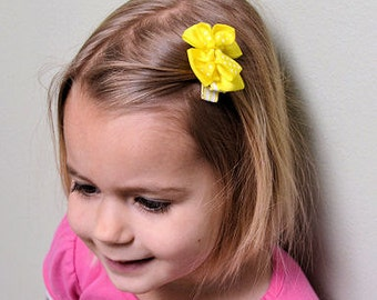 Simple Hair Bow - Emma Hair Bow - Bright Yellow - Perfect for Pigtails and ANY Age small