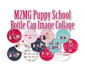 M2MG Puppy School Collage 3/4 inch or 1 inch Bottle Cap Disc-Its Scrapbooking Boutique Digital Collage Art Sheet
