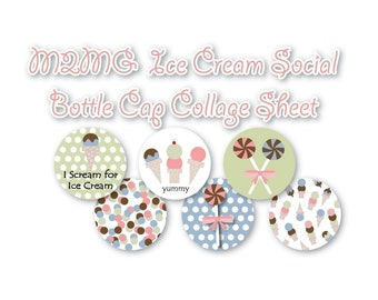 M2MG Ice Cream Social Bottle Cap Collage 3\/4 inch or 1 inch