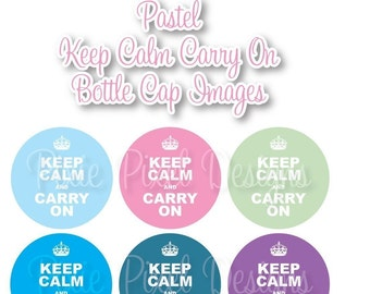 Keep Calm Carry on  Pastel 1 inch Bottle Cap Disc-Its Scrapbooking Boutique Digital Collage Art Sheet