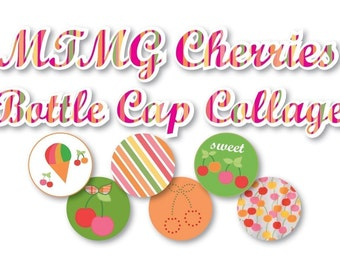 M2MG Cherries Bottle Cap Collage 3/4 or 1 inch