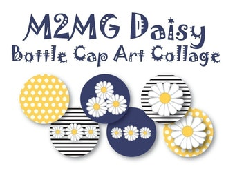 Instant Download - M2MG Lady Daisy Line Bottle Cap Graphics Collage
