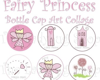 Fairy Princess Collage 1 inch Bottle Cap Disc-Its Scrapbooking Boutique Digital Collage Art Sheet