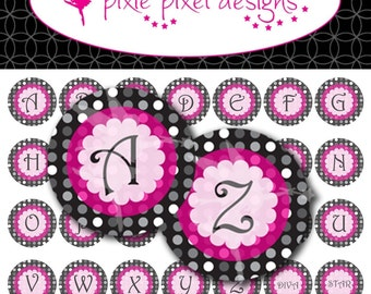 Instant Download - Pink and Gray Dot Alphabet 1 inch Bottle Cap Disc-Its Scrapbooking Boutique Digital Collage Art Sheet
