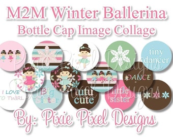 INSTANT DOWNLOAD - M2MG Winter Ballerina 1 inch Bottle Cap Disc-Its Scrapbooking Boutique Digital Collage Art Sheet